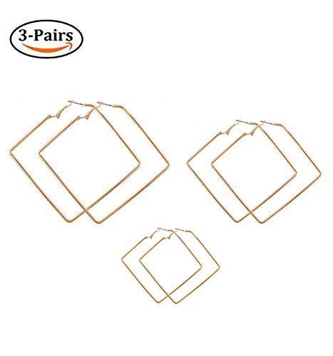 LPON Square Hoop Earrings 3 Pairs Geometric Hoop Earrings Dangle Earring Set for Women Girls -
