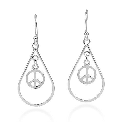 Spirit Teardrop Peace Sign Symbol .925 Sterling Silver Fish Hook Dangle Earrings