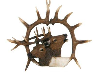 Barto's Elk head, bull with cow double horn ornament