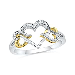 Sterling Silver White with Yellow Plated Round Diamond Triple Heart Ring (1/10 cttw)