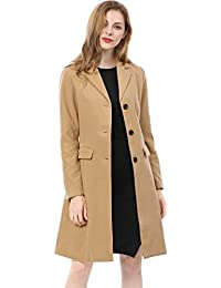 Women's Notched Lapel Button Closure Coat