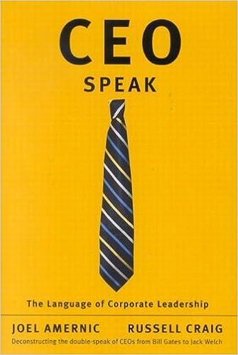 Book CEO-Speak: The Language of Corporate Leadership by Joel Amernic (2006-02-22)