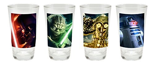 Vandor 53633 4-Piece Star Wars Glass Set 16-Ounce Multicolored