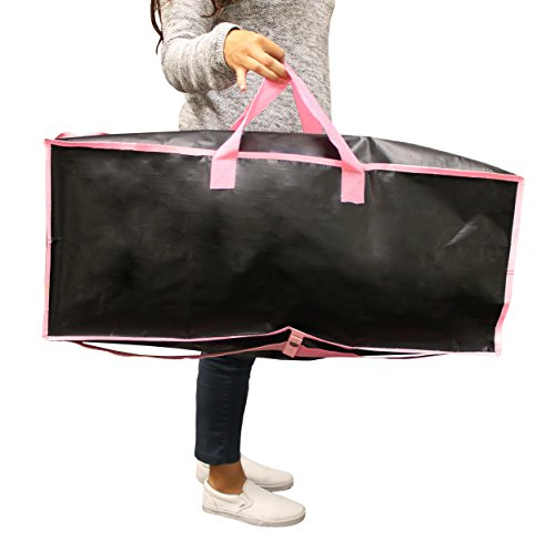 Earthwise Extra Large Reusable Storage Bags Totes Container Backpack Handles w/Zipper closure in Matte Black with Pink Trim Great for MOVING, Compatible with IKEA Frakta Carts (SET OF 4) by Earthwise (Image #4)