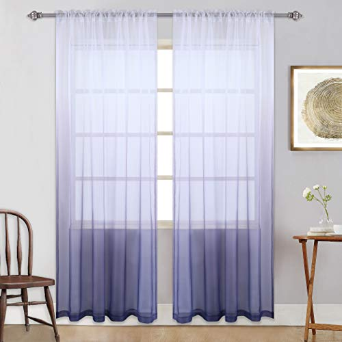 KEQIAOSUOCAI Gradient 2 Pcs Semi Window Drapes Voile Sheer Ombre Curtains 84 inches Long Rod Pocket Purple Sheer Panels for Home,Party,Purple,52x84 ()