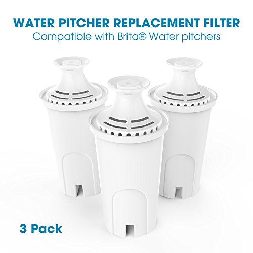 NENRENT 9802 Water Pitcher Replacement Filter Compatible with Brita Water pitchers (3 pack) by NENRENT