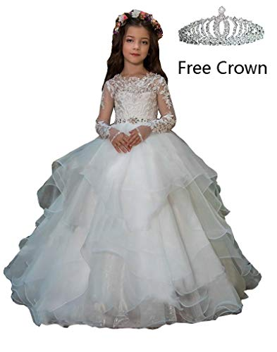 hengyud Long Sleeves Flower Girls Dresses Princess Organza Ball Gowns First Communion Dress 7-16 White for $<!--$59.90-->