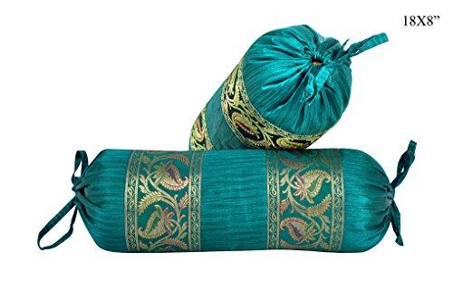 Lalhaveli Green Designer Silk Bolster Pillow Cover Room Decorative 18 x 8 Inch