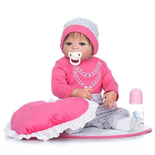 TERABITHIA 57cm Realista de Silicona de Vinilo de Cuerpo Entero recién Nacido muñecas con Almohada en Forma de corazón