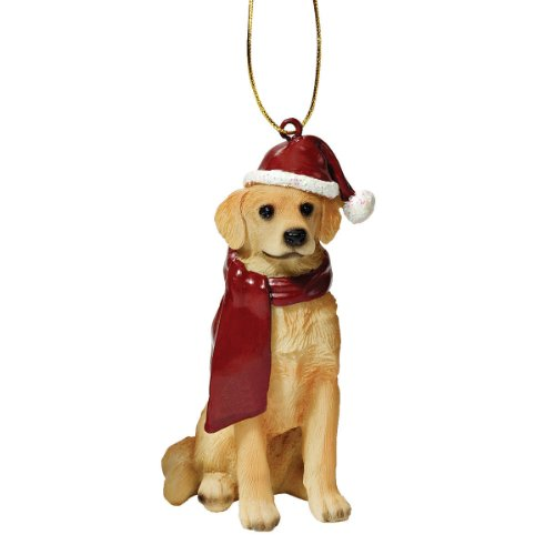 Dog Holiday Ornaments - Design Toscano Christmas Ornaments - Xmas Golden Retriever Holiday Dog Ornaments