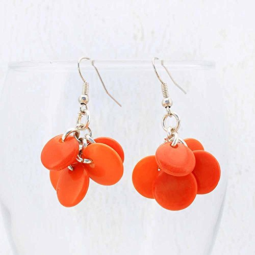 (Chunky Orange Cluster Earrings made of Tagua Nut, Fair Trade Eco Friendly Jewelry)