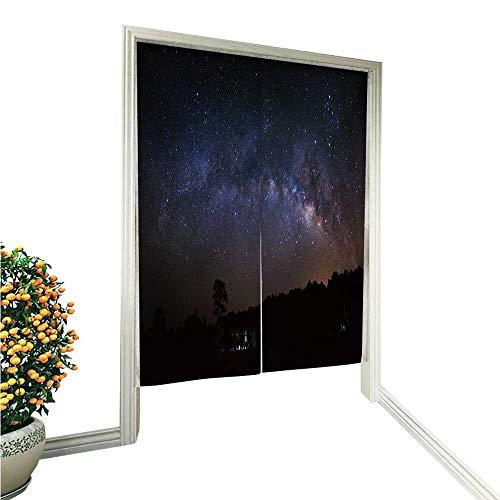 Leighhome Noren Style Doorway Curtain Panorama Milky Way and Tree at PHU hin Rong kla National Park Doorway Curtain 33.5