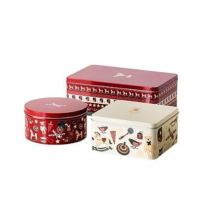 Ikea Snökul - Set de cajas de galletas (metal), diseño de Navidad