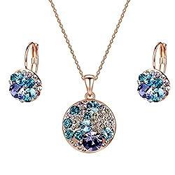 Women's Gold Plated Swarovski Crystals Jewelry Set.