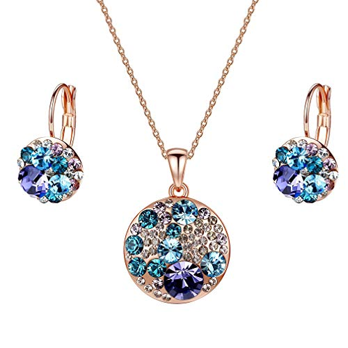 EVEVIC Swarovski Crystals Round Disc Pendant Necklace Earrings Set for Women Girls Gold Plated Jewelry Sets