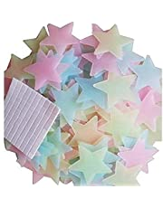 ملصقات جدارية مضيئة في الظلام على شكل نجوم ثلاثية الابعاد من الفلورسنت 100 قطعة لغرف الاطفال وسقف غرفة النوم وديكور المنزل