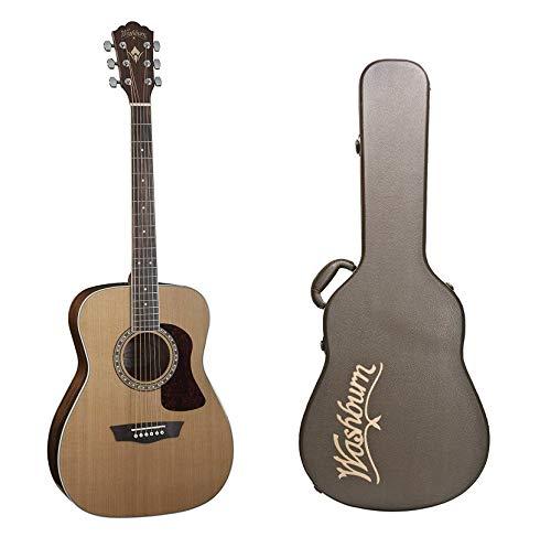 Washburn Heritage Series Acoustic Folk Guitar - Solid Red Cedar Top+Washburn Deluxe Hard Case for Folk Acoustic Guitars