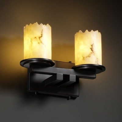 Justice Design FAL-8772-10-MBLK Dakota 2-Light Straight-Bar Wall Sconce, Choose Finish: Matte Black Finish, Choose Lamping Option: Standard Lamping (8772 Mblk Matte)