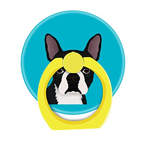 Bsxeos 360 Degree Rotation Cell Phone Ring Holder Mobile Phone Finger Stand with Car Mount Stand Work for All Smartphone and Tablets-Boston Terrier Cartoon