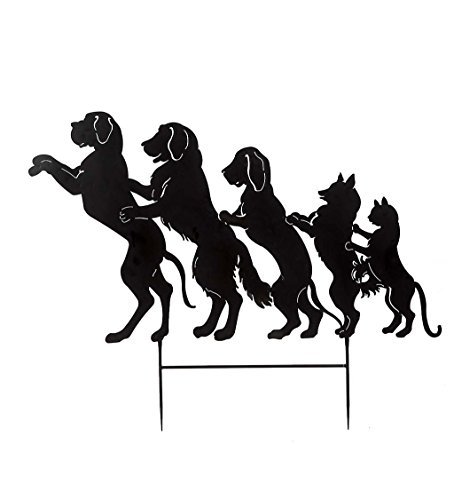 Dog and Cat Conga Line Garden Stake - 63 W x 50 H x 1 D (Yard Dog Art)