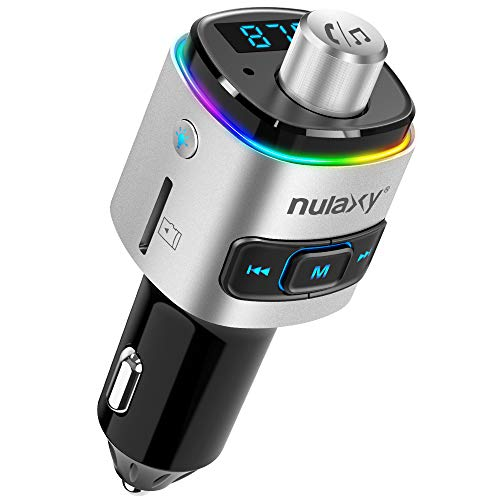 Nulaxy Bluetooth FM Transmitter for Car, 7 Color LED Backlit Bluetooth Car Adapter with QC3.0 Charging, Support Siri Google Assistant, USB Flash Drive, microSD Card, Handsfree Car Kit - NX09 Silver