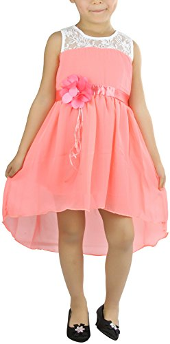 ToBeInStyle Girl's Dress with Removable Flower Pin - Neon Peach - 4 (Pin Flower Removable)