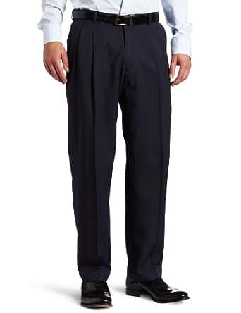 Haggar Men's Micro Houndstooth Pleat Front Dress Pant,Navy,44/32