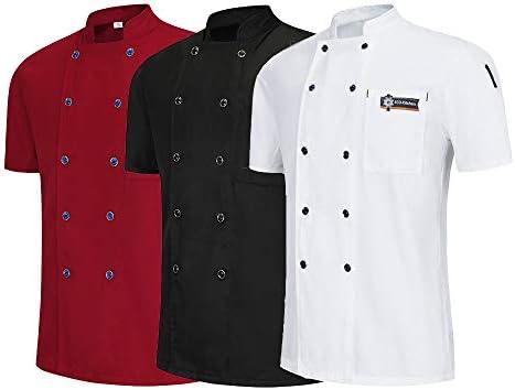 Best 4U Chef Chaqueta Camarero Camarera Camisa de Cocinero de Manga Corta Cocina Unisex Restaurante Uniforme Barberías Tienda de postres Ropa de Trabajo del Hotel,Red,XXXXL: Amazon.es: Deportes y aire libre