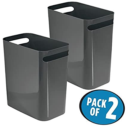 MDesign Rectangular Small Narrow Modern Slim Trash Cans Wastebaskets,  Containers Bins For Bathrooms, Kitchens