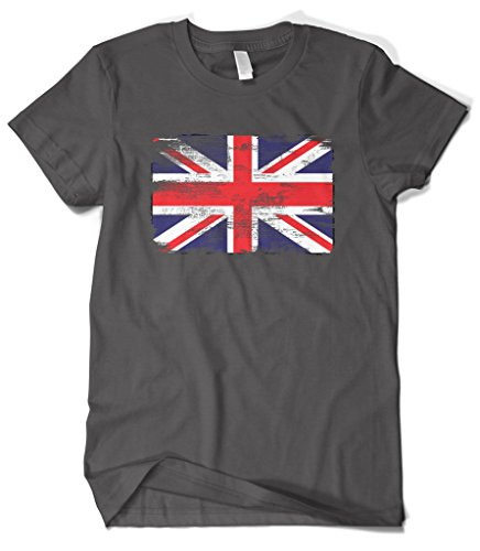 Cybertela Men's Faded Great Britain England Flag T-Shirt (Charcoal, Small)