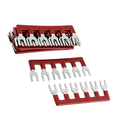 Type Fork (YXQ Terminal Strips with Pre Insulated Fork Type 6 Pin 600V 25A Red, 10-piece)