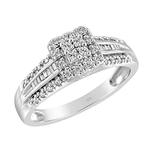 Brilliant Expressions 10K White Gold 1/5 Cttw Conflict Free Diamond Square Halo and Baguette Channel Band Engagement Ring (I-J Color, I2-I3 Clarity), Size - Diamond Square Ring Engagement