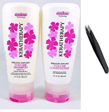 Keratin Infused Volume Shampoo and Conditioner 10.1 fl oz. + PROFESSIONAL TWEEZER