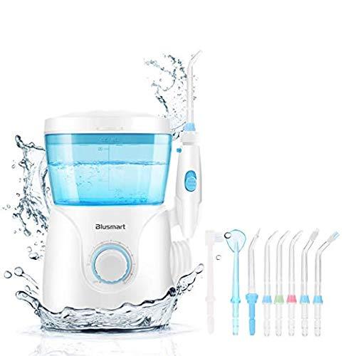 Blusmart Water Flosser Countertop Water Flossers 600ML Oral Irrigator 10 Pressure Settings Dental Flossing for Family Use, 8 Multifunctional Tips 30-125psi