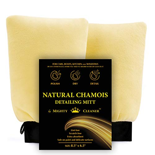 Mighty Cleaner's Natural Chamois Car Wash Mitt - Leather Chamois Wash Mitt - Chamois Leather - Set of 2