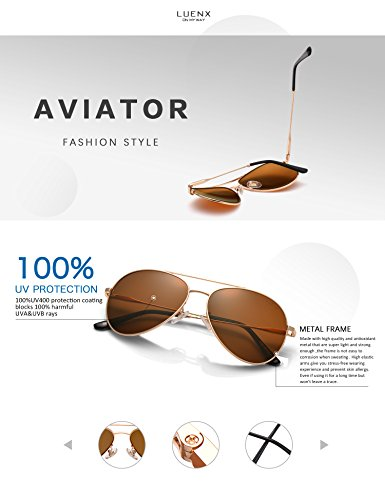 LUENX Men Women Aviator Sunglasses Polarized Brown Lens Metal Frame UV 400 59MM Driving Fashion with Accessories by LUENX (Image #3)