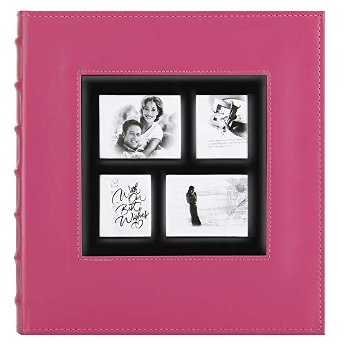 Artmag Photo Picutre Album 4x6 500 Photos, Extra Large Capacity Leather Cover Wedding Family Photo Albums Holds 500 Horizontal and Vertical 4x6 Photos with Black Pages (Pink)