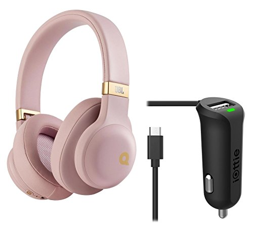 JBL E55BT Quincy Jones Edition Wireless Bluetooth Over-Ear Headphones (Dusty Rose) + Micro USB Car Charger