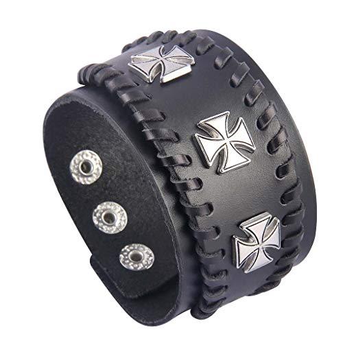 (Bfiyi Punk Leather Cuff Bracelets Adjustable Wrap Bracelet Rock Cross Leather Wristbands for Men, Kids, Boys, Women, Rocker)