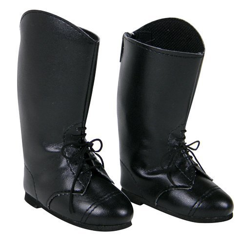 18 Inch Doll Riding Boots for Horse Riding Doll Shoes, Fits 18 Inch American Girl Dolls, Detailed with Laces, Classic Black Riding Boots