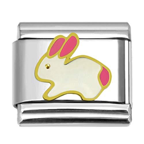 SilverAndJewelry Bunny Italian Charm Stainless Steel Bracelet Link