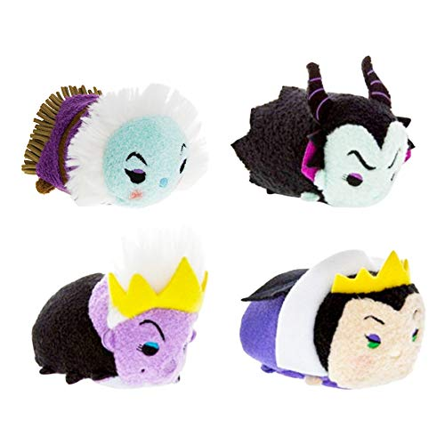 Disney Villains Party Favors Pack - Set of 4 Villains Tsum Tsum Plush Toys (Party Supplies) (Plush Set)