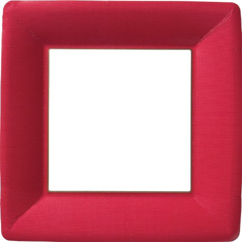 Ideal Home Range PEG10110 8 Count Square Paper Plates, 10-Inch, Classic Linen Red