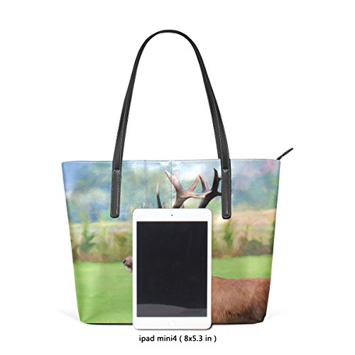 Satchel Red Shoulder Purse Deer Tote Large Handbags Top Women's Hull Painting Bags Bennigiry Handle C5vHq0C