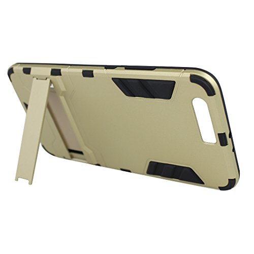 "Rosa Schleife Ultra Delgada Huawei P10 Plus Funda de Protección Híbrido Armadura Escabroso Caso Doble Capa Carcasa Trasera Función de Soporte Funda de Móvil Para Huawei P10 Plus (5.5""), Negro Oro"