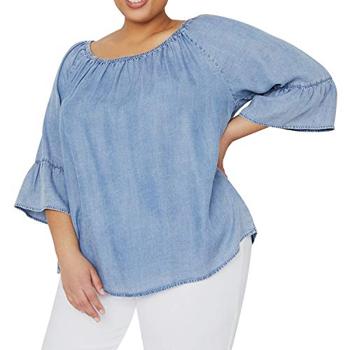 Women's Plus Size Soft Peasant Top Denim 3/4 Flounce Sleeves Blouse Shirt on or Off Shoulders Light Wash -