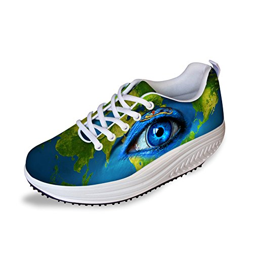 Eyes 3 CHAQLIN Pattern Woman Swing Eyes 3D Wedge Rocking Wedges Shoes Platform Sneakers Fashion ZZ8qxSOgw