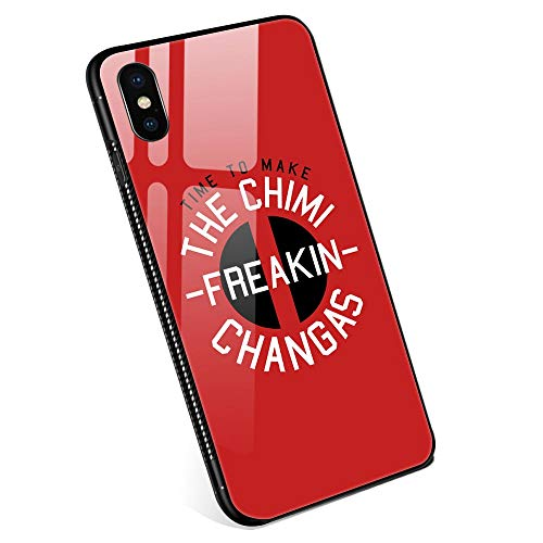 iPhone Xs MAX Cases, Chimi-Freakin-Changas Tempered Glass iPhone Xs MAX Case with Clear Ring Kickstand Black Cover Rotating Stand Case for iPhone Xs MAX 6.5 from ANLUN STORE