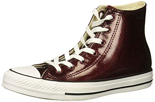 Converse Women's Chuck Taylor All Star Glitter Canvas High Top Sneaker, Dark Burgundy/White/Black, 8.5 M US