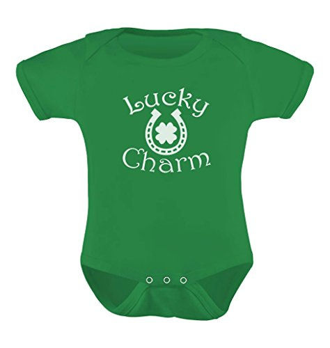 St Patricks Day Baby Shower - Clover Shamrock Lucky Charm for St. Patrick's Day Baby Bodysuit Newborn Green